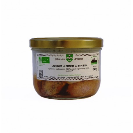 Saucisses et confit de porc bio 340g