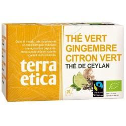 Thé vert gingembre citron vert bio 20x1.8g Terra Etica