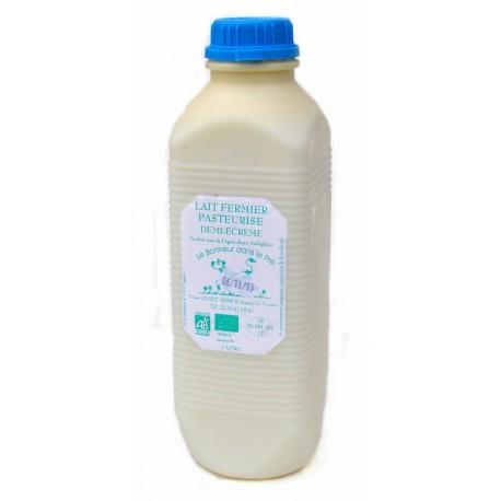 Lait frais demi-écrémé pasteurisé bio 1 litre