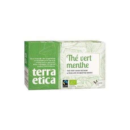 Thé vert à la menthe bio 20 sachets 36 g Terra Etica