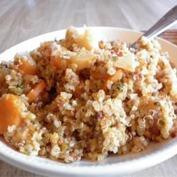 Poêlée de panais, carottes et coriandre au quinoa.