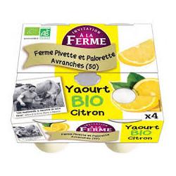 Yaourts bio au citron Pivette & Palorette 4X125g