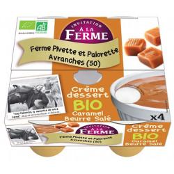 Crème dessert bio caramel beurre salé Pivette & Palorette 4X100g