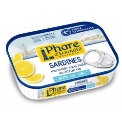 Sardine à l'huile d'olive/citron Bio réduite en sel 115 g