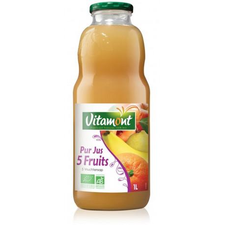 Jus cocktail 5 fruits bio 1 l Vitamont