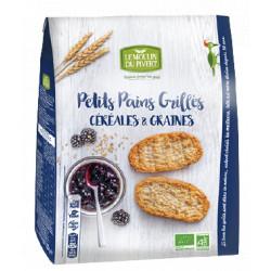 Petits pains grillés bio céréales et graines 225 g Moulin du Pive
