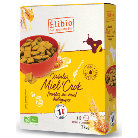 Miel'crok bio fourrés au miel 375 g Elibio
