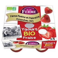 Yaourts bio fraise Pivette et Palorette 4 x 125 g