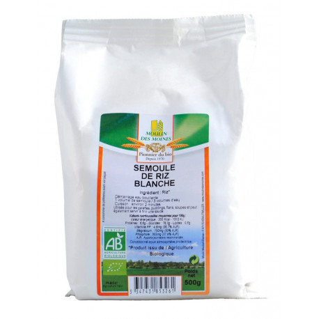 Semoule de riz bio 500 g Moulin des moines